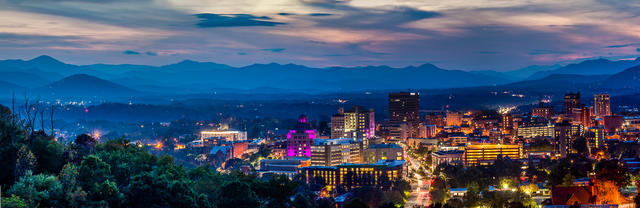 Asheville at Dusk - Mt Pisgah View (visible in left of frame)