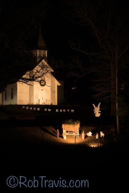Nativity at Church in Brevard, NC - Vertical