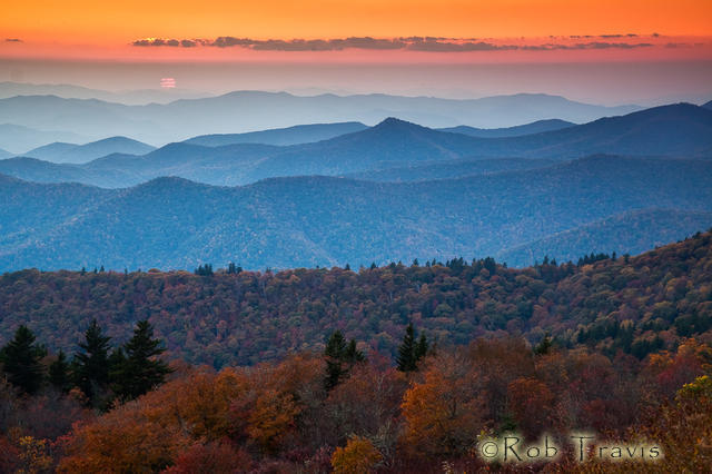 Sunset in Autumn on the Blue Ridge Parkway.
