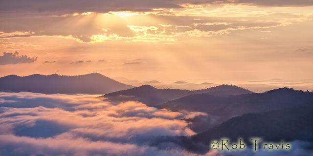 Morning Sunlight, Fog-Filled Valley