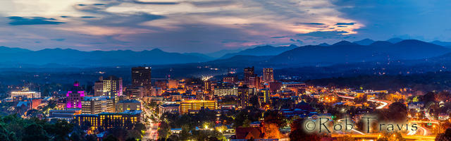 Asheville after Dusk, a wider view